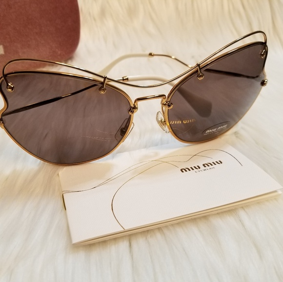 49b2cfb13ee Miu Miu Sunglasses Butterfly oversized Gold Brown